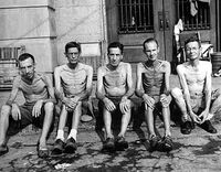 Allied POWs in a Japanese internment camp