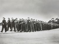 Trainees at 1 W.A.G.S. in marching drill