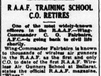 RAAF Training School C.O. Retires - Wing Commander Fairbairn