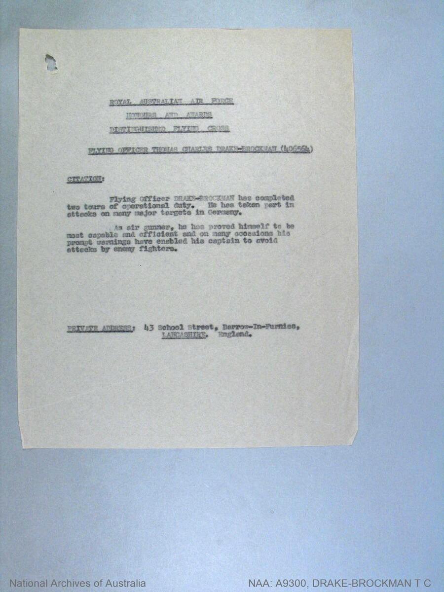 1 WAGS - DRAKE-BROCKMAN Thomas Charles - 406564 Citation
