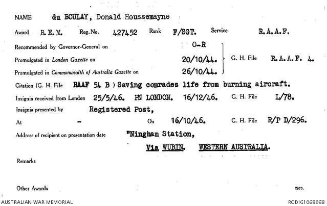 1 WAGS - Du BOULAY Donald Houssemayne - 427452 Citation