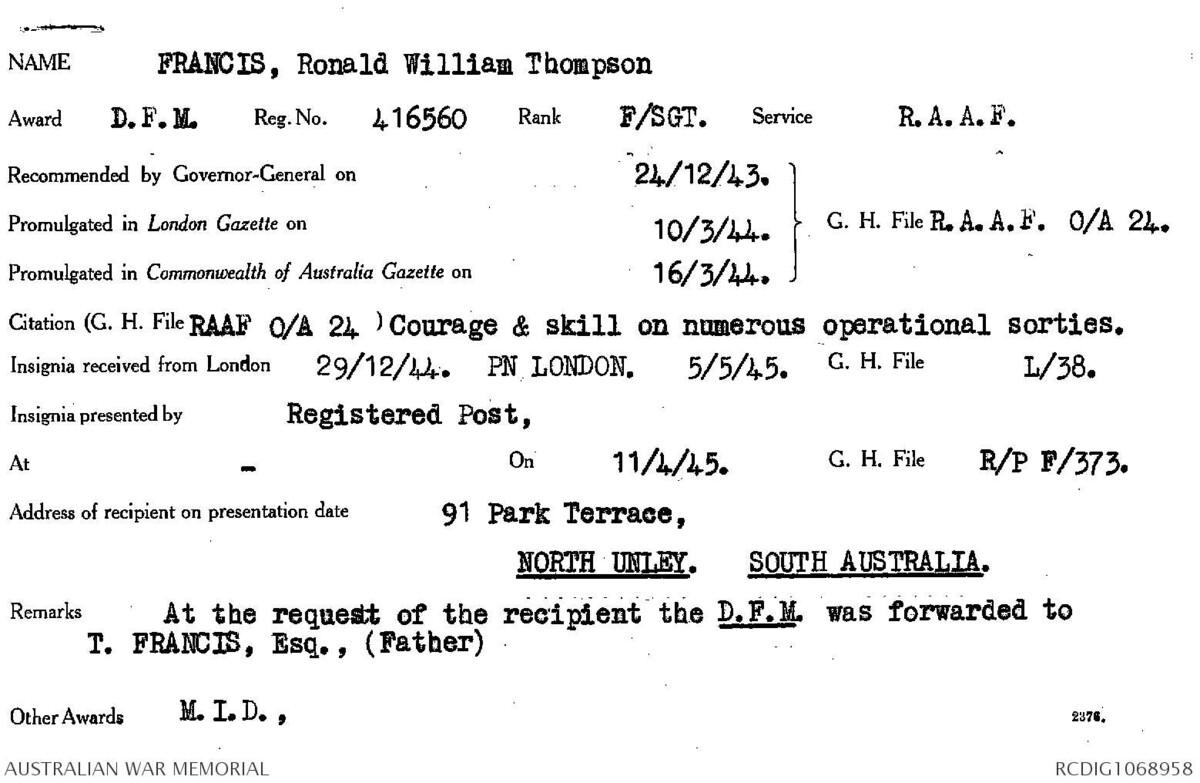1 WAGS - FRANCIS Ronald William Thompson - 416560 Citation