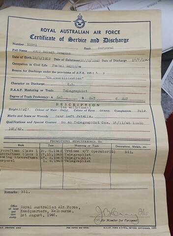 Service and Discharge Certificate RAAF
