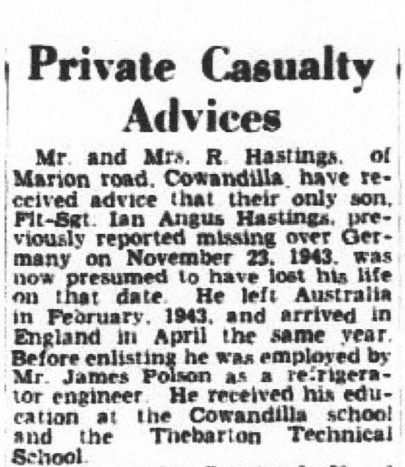 1WAGS - HASTINGS Ian Angus - Service Number 417482