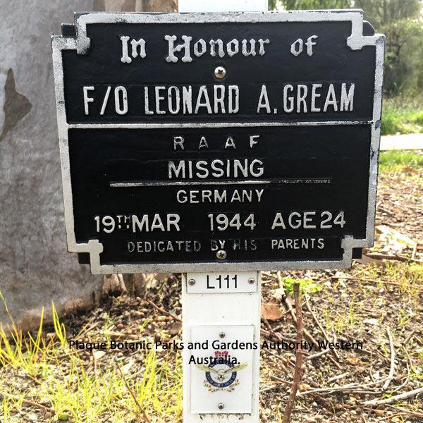 1WAGS - GREAM Leonard Arthur - Service Number 406618 (Plaque_edited-1)