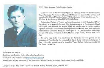 ADAMS, Colin Fielding - Service Number 39923 | 1WAGS Ballarat