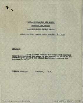 ANNELLS [DFC], Vernon Percy - Service Number 417939 | 1WAGS Ballarat
