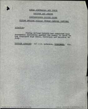 CARROLL [DFC], William Thomas - Service Number 407098 | 1WAGS Ballarat