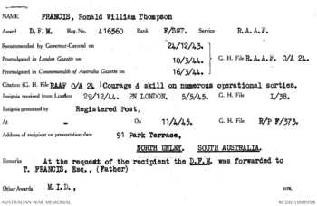 FRANCIS [DFM], Ronald William Thompson - Service Number 416560 | 1WAGS Ballarat