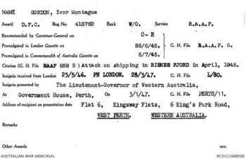 GORDON [DFC], Ivor Montague - Service Number 415782 | 1WAGS Ballarat