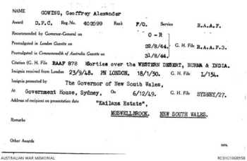GOWING [DFC], Geoffrey Alexander - Service Number 402099 | 1WAGS Ballarat
