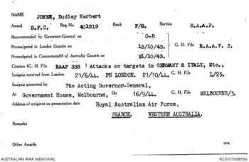 JONES [DFC], Dudley  Herbert - Service Number 401219 | 1WAGS Ballarat