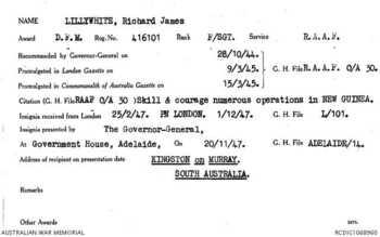 LILLYWHITE [DFM], Richard James - Service Number 416101 | 1WAGS Ballarat