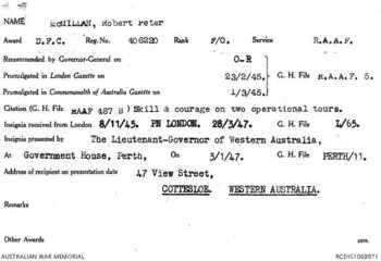 McMILLAN [DFC], Robert Peter - Service Number 406220 | 1WAGS Ballarat