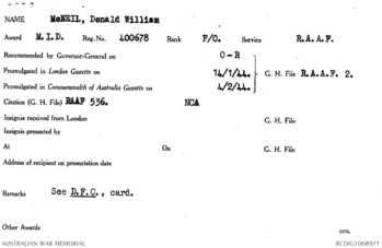 McNEIL [DFC], Donald William - Service Number 400678 | 1WAGS Ballarat