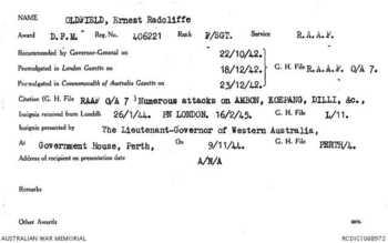 OLDFIELD [DFM], Ernest Radcliffe - Service Number 406221 | 1WAGS Ballarat