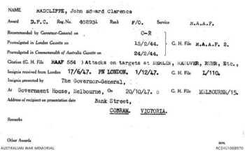 RADCLIFFE [DFC], John Edward Clarence - Service Number 408931 | 1WAGS Ballarat