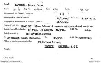 RAFFERTY [DFC], Edward Hayes - Service Number 408228 | 1WAGS Ballarat