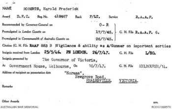 ROBERTS [DFC], Harold Frederick - Service Number 418467 | 1WAGS Ballarat