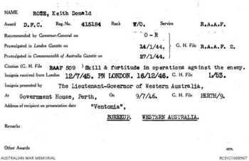 ROSE [DFC], Keith Donald - Service Number 415184 | 1WAGS Ballarat