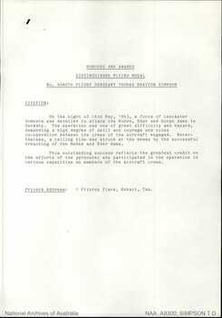 SIMPSON [DFM, DFC], Thomas Drayton [Tammy] - Service Number 408076 | 1WAGS Ballarat