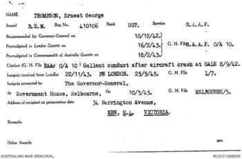THOMPSON [BEM], Ernest George - Service Number 410106 | 1WAGS Ballarat