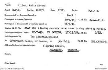 WILSON [DFC], Felix Edward - Service Number 400576 | 1WAGS Ballarat