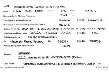 CHADWICK-BATES, Arthur George Jackson - Service Number 412480 | 1WAGS Ballarat