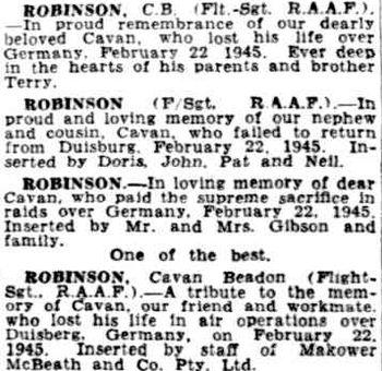 ROBINSON, Cavan Beadon - Service Number 427484 | 1WAGS Ballarat